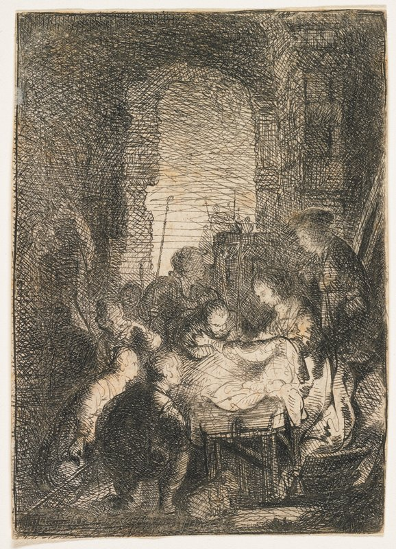 figures gathered around manger below stone arch