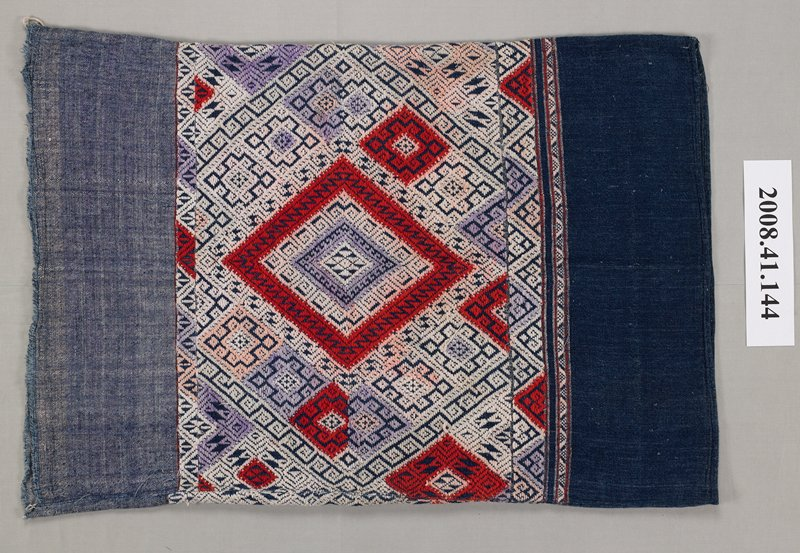 three panels; top is medium blue; bottom is dark blue; center has geometric patterns in white, pink, lavender, red and blue; motifs include diamonds, key patterns and triangles