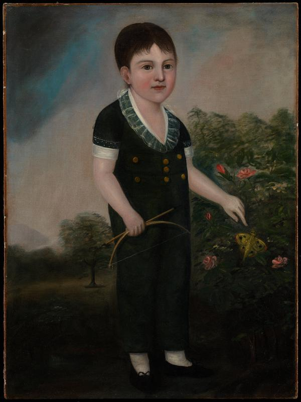 exterior garden scene; boy in green suit with lace collar and brass buttons is holding bow and arrow and pointing to a yellow moth in a rose bush; stormy sky ULC