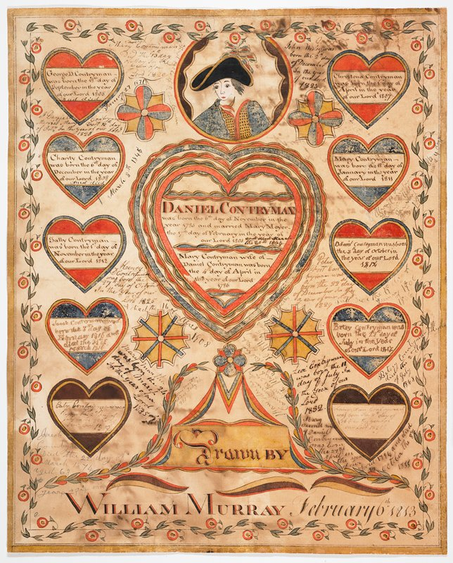 "large heart at center with ""Daniel Countryman"" printed in black and red; roundel with portrait of a young man wearing a black hat at top center; ten small hearts to L and R of large heart; chased flowers, swags and decorative arcs at bottom: ""Drawn BY/ WILLIAM MURRAY February 6th 1813""; handwritten text in different hands throughout, front and back"