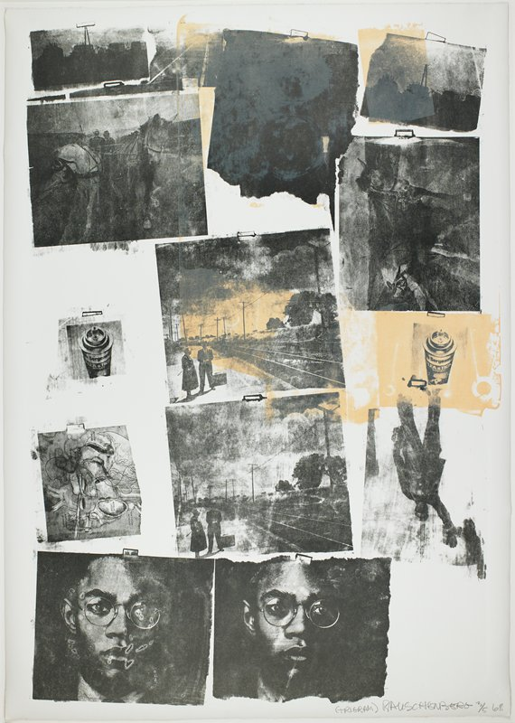 thirteen small images-some repeated-including spray can, drawing of the heart, man wearing round glasses, two men on a train platform and two people in a horse-drawn cart; printed in black and orange