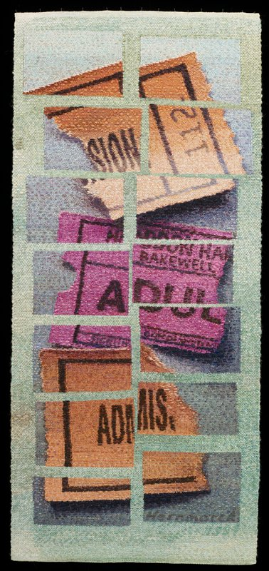 pale green ground; 14 rectangles with design of three ticket stubs--dark orange and purple; black heading band on back