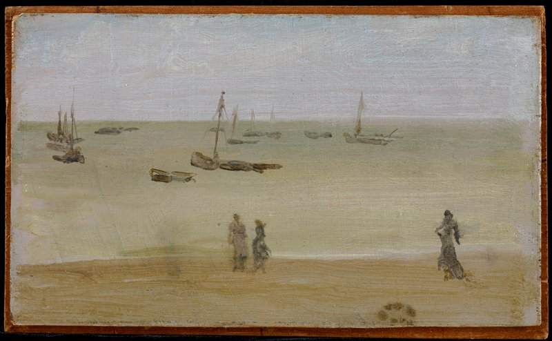 three figures walking along shoreline; sailboats tied in water