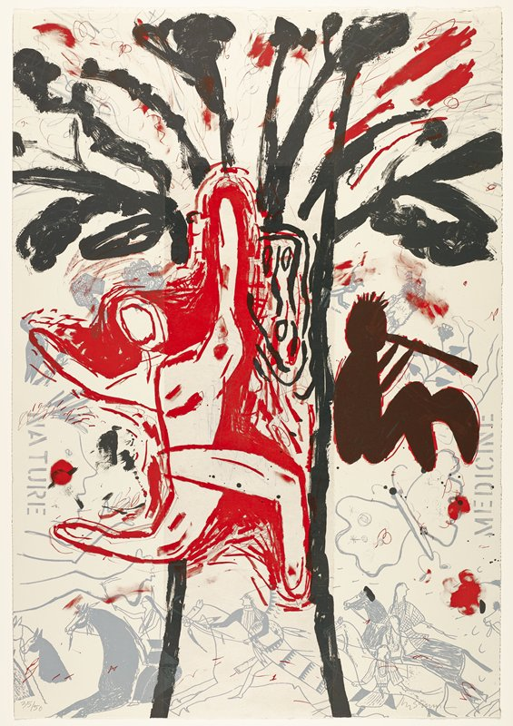 "grey images in background of Native Americans on horses, butterfly, flowers, turkey, bird, figures of various sizes and stockings; abstracted red running figure in front/foreground, left; black tree-like image at center; red and black seated figure playing a flute at right center; ""NATURE"" and ""MEDICINE"" in grey at left and right edges"