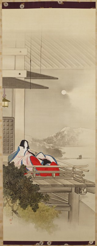 woman with very long hair wearing pink kimono with blue trim and red undergarment seated on a balcony; wall and roof lines to left and above woman; water and mountains at right