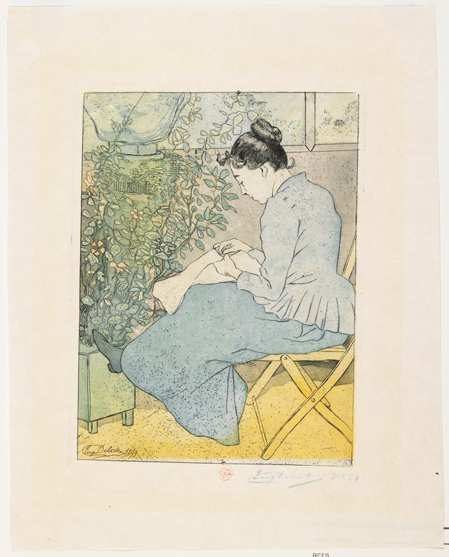 seated woman seen from PL; woman is seated on a yellow folding chair, sewing; dark hair in a bun; woman wears blue jacket and long skirt and rests one foot on a pot filled with climbing flowers at left
