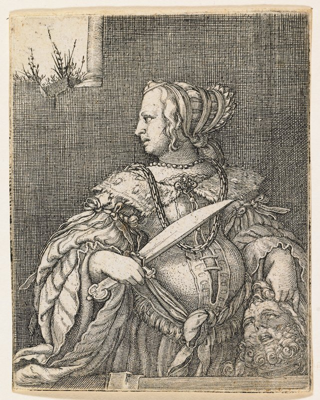 head and torso of woman with head turned to PR, holding short sword in her PR hand and holding Holofernes' severed head by the hair in her PL hand; small window with column and grasses visible through opening, ULC