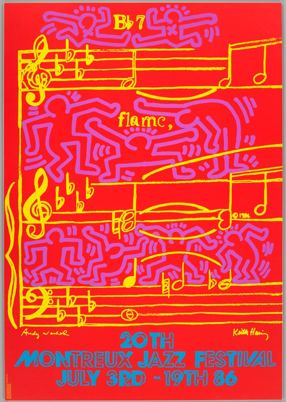 red ground; three lines of musical notation in yellow; purple dancing figures above and between lines of music; blue text and bottom