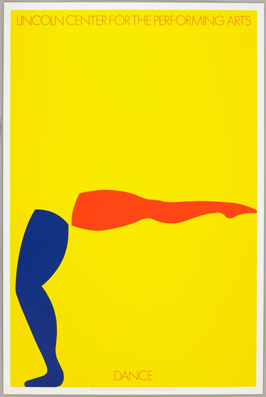 yellow ground; pair of legs--one blue, one orange; small text in orange at top and bottom