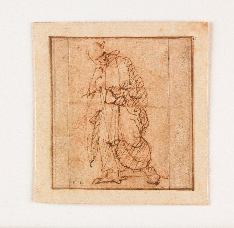 sketch of a striding heavily draped figure; brown ink