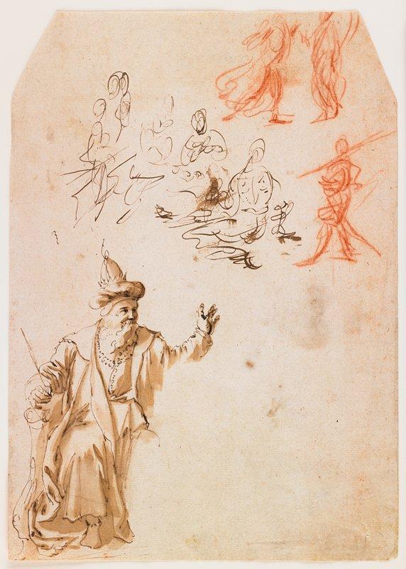 sheet of studies; man in hat, LL corner; figural shapes, top half of sheet; on verso, man semi-reclining