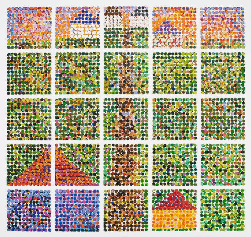 25 square steel plates with various colored dots on a tan grid on white ground; entire design is straight brown path from bottom center to horizon line at top, between two small white buildings; large house shape in LLC; smaller house shapes at top and LRC