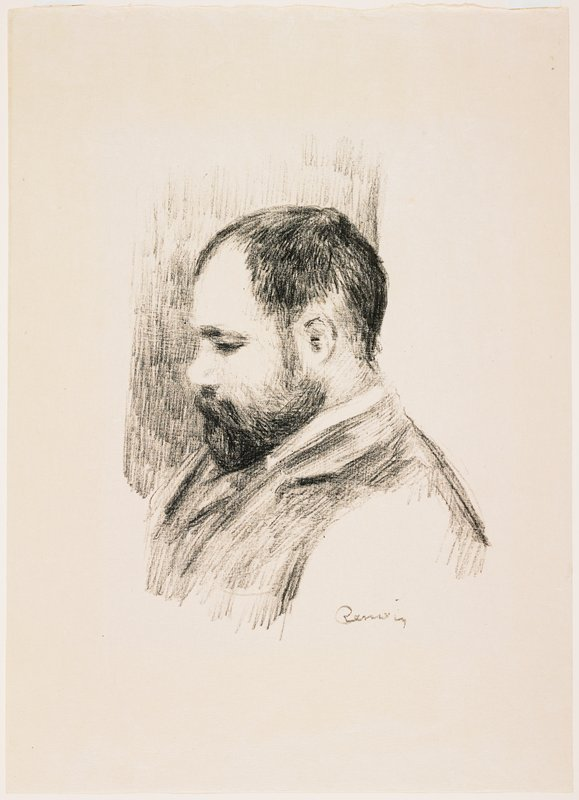 portrait of a man in profile, PL; black hair, beard and moustache, with receding hairline