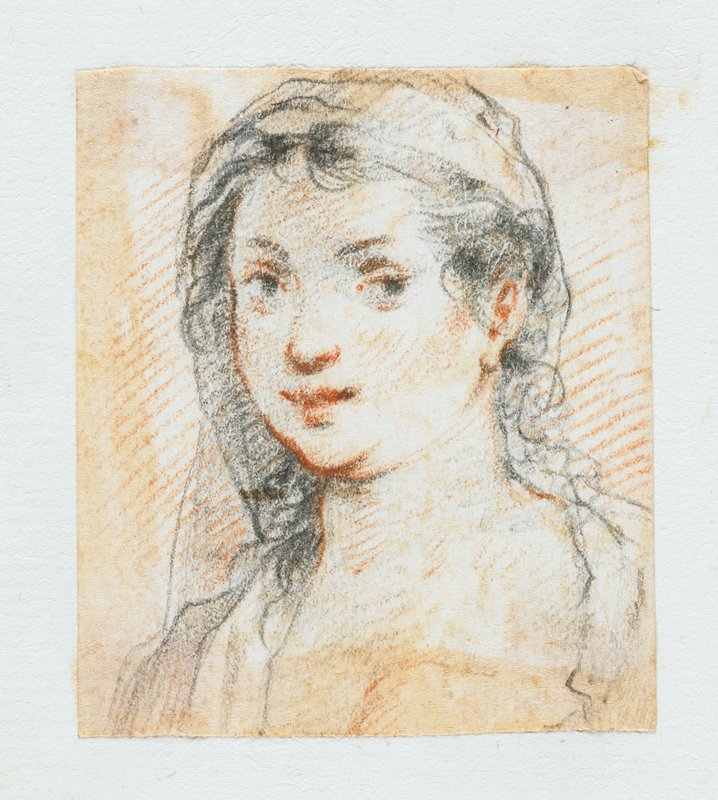 portrait of a young woman with long dark curly hair, in graphite and black chalk; labeled on sheet in blue ink: H.85; mounted on sheet with 3 other small drawings--further drawings have been removed; other drawings present are labeled on the sheet in blue ink: H.82, H.83, H.84; see also L2009.52.67a-c