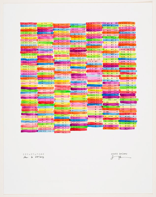 """typed text of portion of the word """"incantation"""" printed in seven columns; each partial word highlighted with watercolor line: purple, orange, yellow, green, blue, red"""