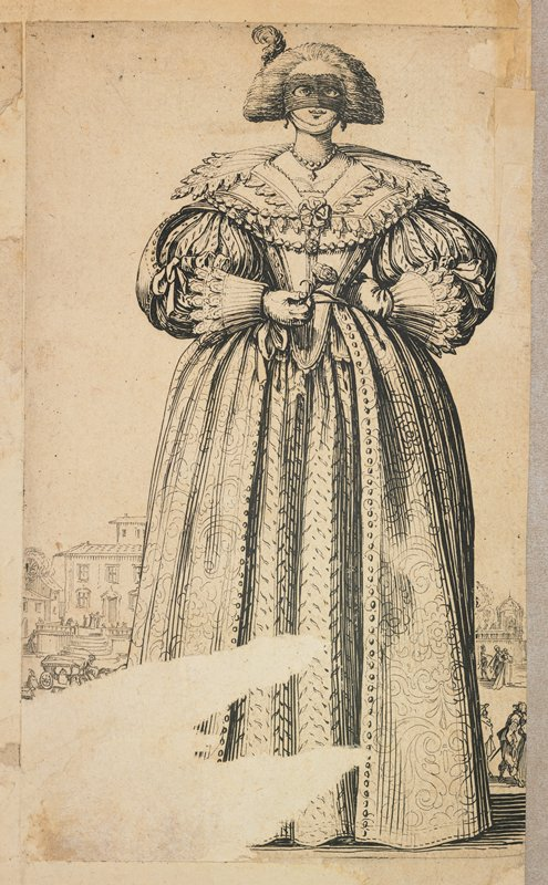 standing woman wearing a gown with an elaborate bodice and sleeves, holding a rose in her PR hand; woman wears at black eye mask; tiny buildings and figures far in background; affixed to the URC on back of drawing