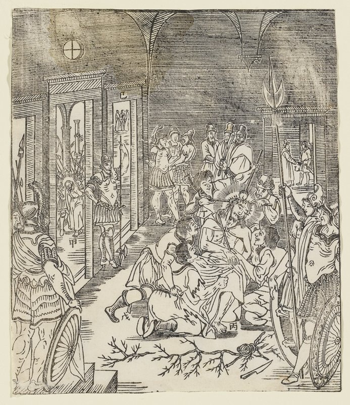 interior scene; bottom R shows Christ seated with five figures immediately surrounding him-three looking and two above his head are poking him, placing crown of thorns on his head; in foreground is a knife next to branches of thorns; to R two figures with shields dressed in military garments stand as if watching; on L is guard in same attire; guards throughout interior; through outside the doorways on L hand side is Christ walking head looking down, appears as if figures are holding his hands behind his back; Chinese symbols by each depiction of Christ and one symbol above doorway, third one in