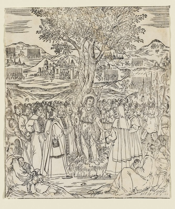 scene of St. John the Baptist standing in front of tree, preaching to crowd; two women seated at LRC, one feeding baby; seated woman holding two children at LLC; medieval clothing; western architecture at top half of image with seven small groups of people, possibly in military formation; eight Chinese characters throughout image