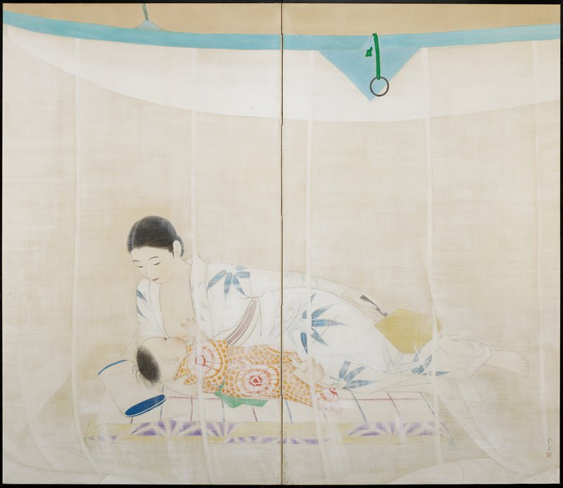 reclining woman lying on her PR side, breastfeeding a baby in a red and orange tie-dyed kimono; woman wears a white kimono with blue flowers and holds a fan in her PL hand; view through a sheer curtain with blue band at top of screen