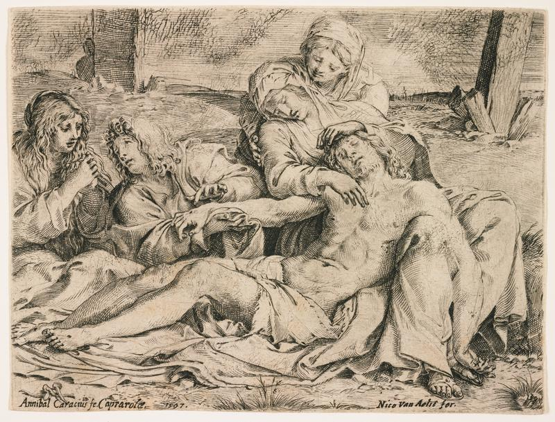 crucified Jesus reclined next to seated Mary, comforted by another woman behind her; two other figures at L examine wound in Jesus' PR hand