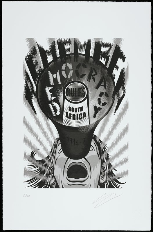 """slightly abstracted image of a bullhorn with face of person speaking into it below and behind it; words radiating out of bullhorn: """"REMEMBER / DEMOCRACY / RULES / SOUTH / AFRICA / 1994-?""""; black and white with greys"""