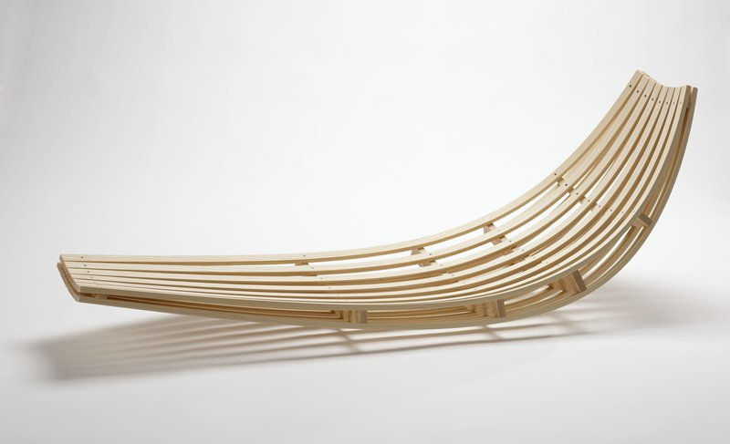 Curve Shaped Lounge Chair (without Legs), Rests Directly On Floor. Slats