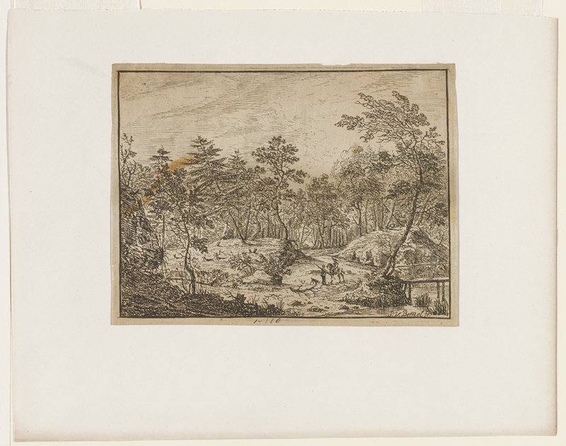 trees surrounding center clearing; two figures center; one on horse; one carrying gun(?) with dog at side