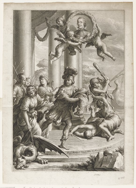 Jason with fleece over arm at center; woman stabbing dragon at lower left; warriors behind and beside her; three men at right, two on ground, one with club; three putti above Jason carrying portrait of man framed in wreath; crown and sheild on rock lower right