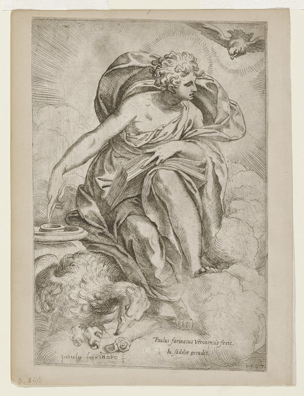 St. John with book on lap; quill PR hand in ink pot; bird (eagle?) lower left; dove upper right