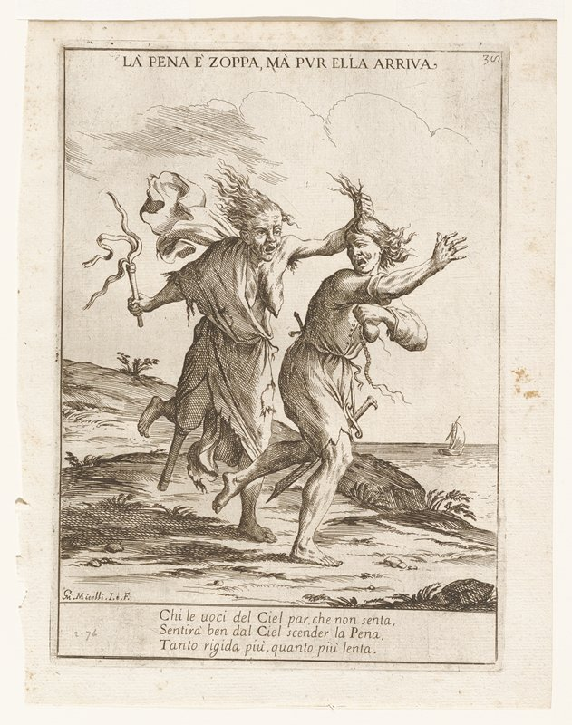 two running fugures; man in front of woman; man carrying purse with cut strings; older woman holds whip in one hand and has hold of his hair with the other