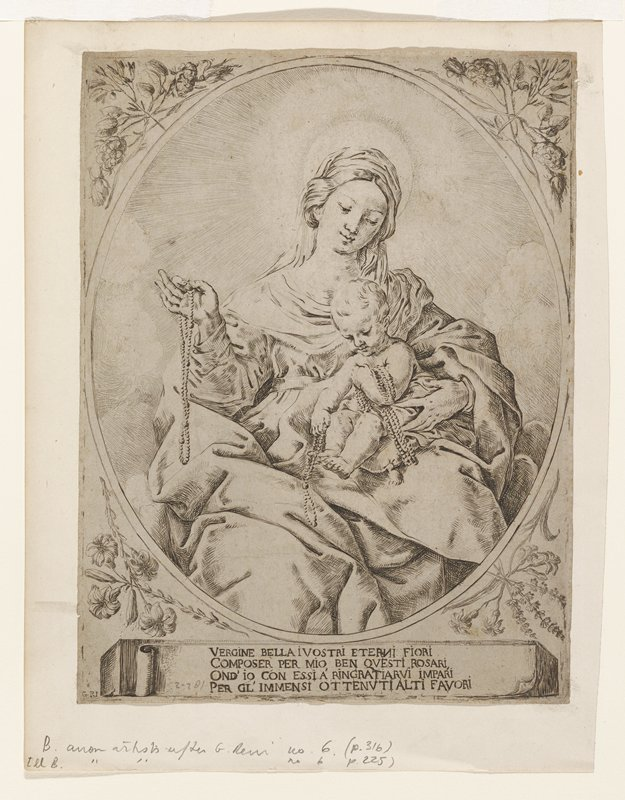 seated woman holding child; woman and child holding beads; image in oval frame with floral and foliate designs at corners