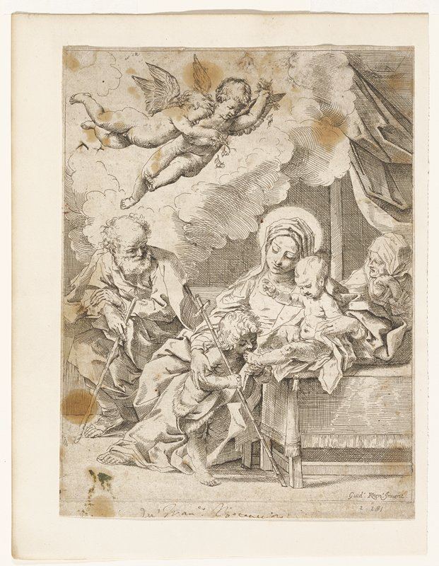 seated Virgin holding child; small child at her PR knee kissing foot of child; cross in PR hand; two figures, man and woman, behind