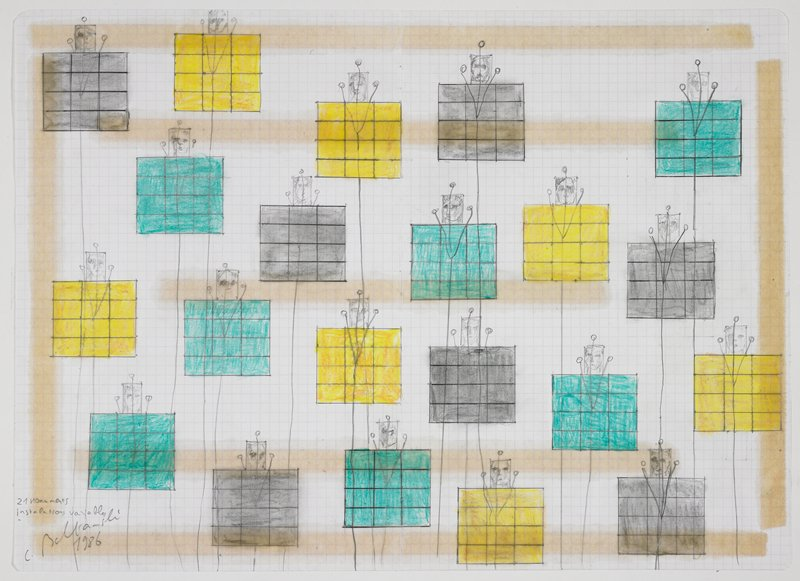 """preparatory drawing/""""certificate of authenticity"""" for """"Monuments"""" installation; 21 elements consisting of a grid of 12 colored rectangles at bottom of each element (turquoise, yellow or grey), with rectangular element at top center of each with a sketch of a face, and three circles (lights) connected with lines (wires) drawn to bottom of sheet"""