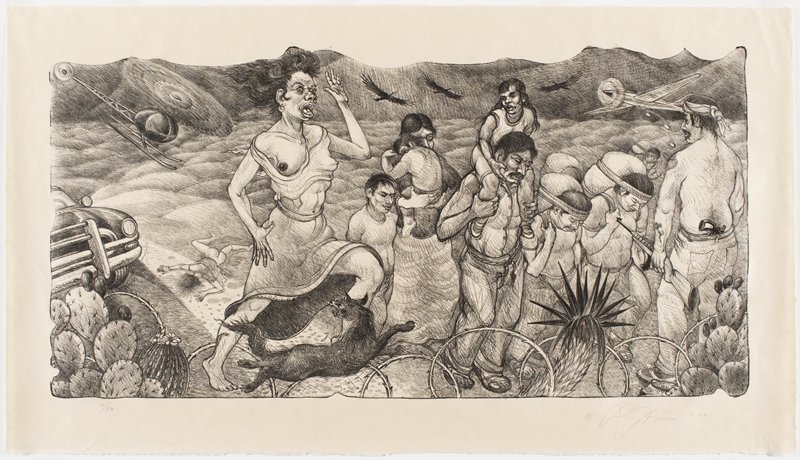 figures carrying children and bundles at right, with man with two guns at right edge; screaming woman with one bare breast at center, with a dog at her feet; helicopter and plane in top corners; three black birds flying overhead; dead girl lying face down, nude from waist down, at left; car at far left; cactus and barbed wire at bottom in foreground
