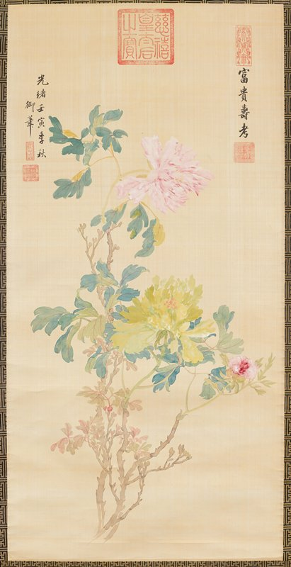 peonies--pink and pale green--on long, leafy stems; three lines of text--two at left edge, one at right edge; five red seals, including very large red seal at top center