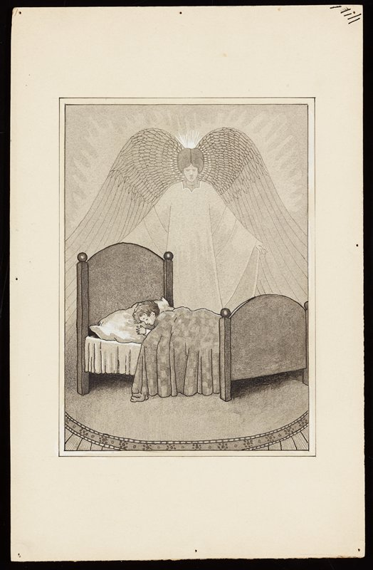 angel with very large wings standing behind a child sleeping in a bed