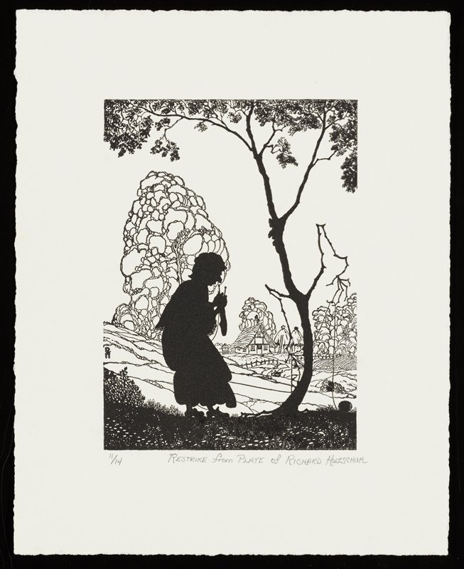 silhouette of old woman knitting a sock, facing a personified tree in silhouette, which holds the woman's yarn; stylized trees and cottage in background; restrike