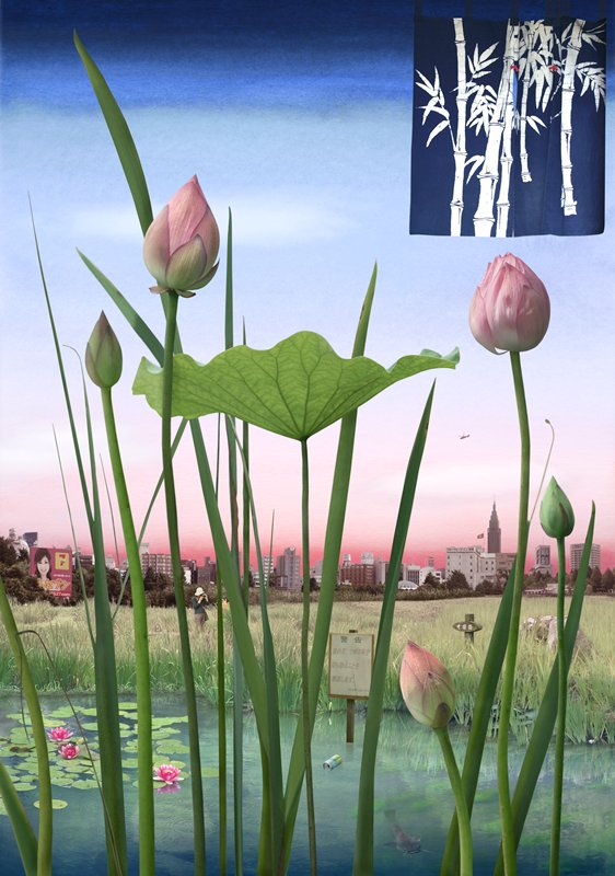 stems of lotus flowers across foreground; water and grassy field in middle ground; city landscape in background; black metal frame on light box
