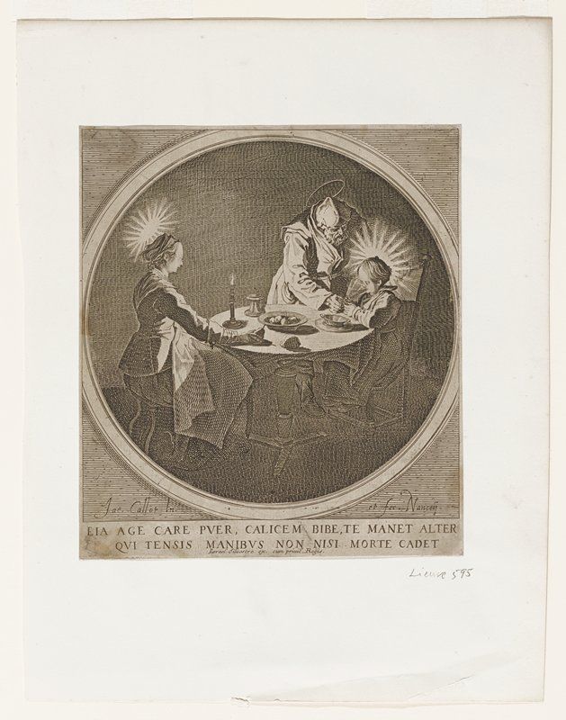 within a circle woman and child seated at a round table; man standing next to child; drinking glass in man's hand and at child's mouth; rays of light around head of woman and child; halo around man's head