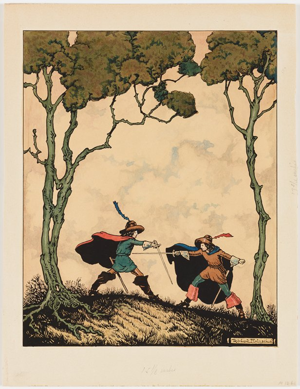 two men fighting with swords between two trees with tall, thin trunks; men wear boots, hats with tall feathers and long billowing cloaks