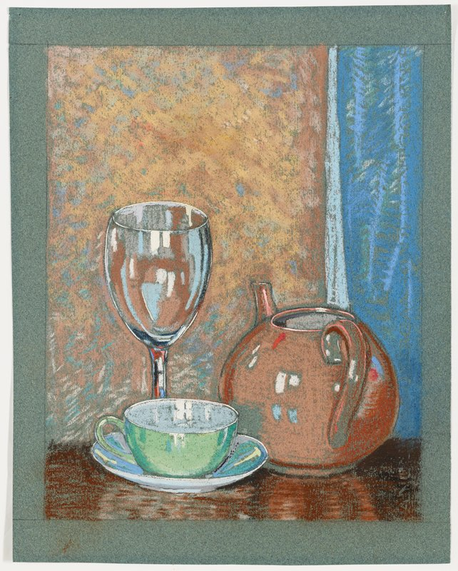 still life with green, blue and yellow cup and saucer, pink teapot and wine glass