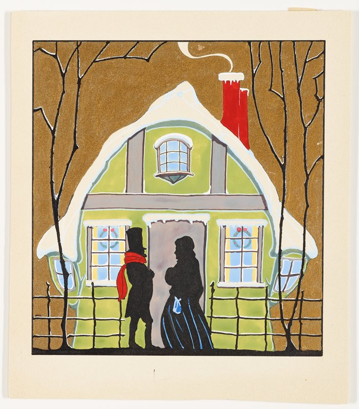 silhouetted couple in front of a green cottage with snow-covered roof; man wears red scarf, woman has blue bag and blue vertical lines on her skirt; gold sky