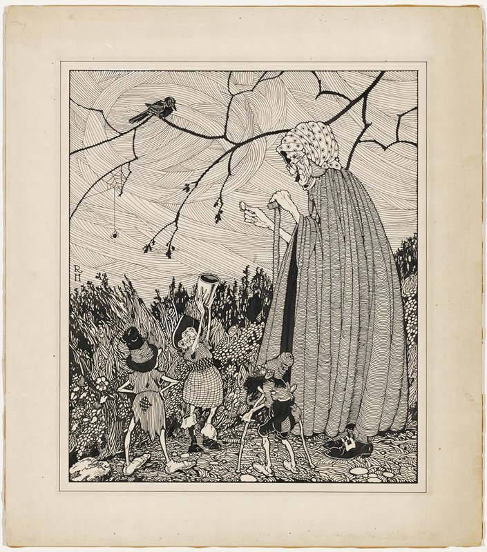 recto: three elves--one on crutches, one holding up a cup to an old woman in a cloak and patterned headscarf, leaning on a cane, who holds a coin; detailed ground and grasses; swirling sky; branch across top of image with black bird and spider with web; verso: elf wearing checked knickers and stockings and a tall cap with a pompon, wheeling bundles in a wheelbarrow through the snow; falling snow in night sky; two cottages in background; pencil grid lines around and below image