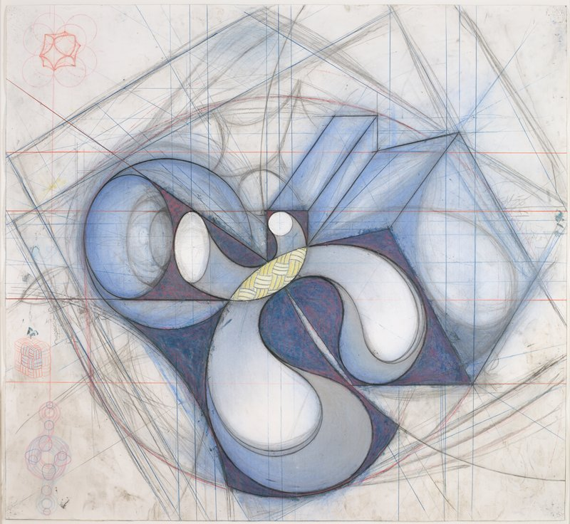 abstract image; central biomorphic and geometric form in blue, grey, white and yellow; football shaped element at center with basket-weave design; red and blue grid and guidelines throughout; small sketches in red and blue of three-dimensional forms in ULC and LLC