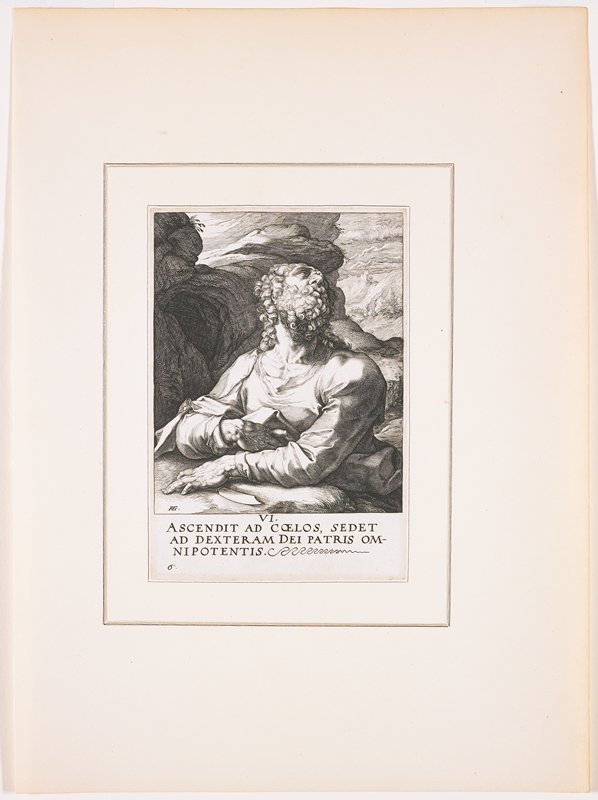"""man with curly beard and long curly hair, looking up to PL, with foreshortened facial features; knife under PL hand; rugged landscape behind figure; text at bottom: """"VI. / ASCENDIT AD COELOS, SEDET / AD DEXTERAM DEI PATRIS OM- / NIPOTENTIS."""""""