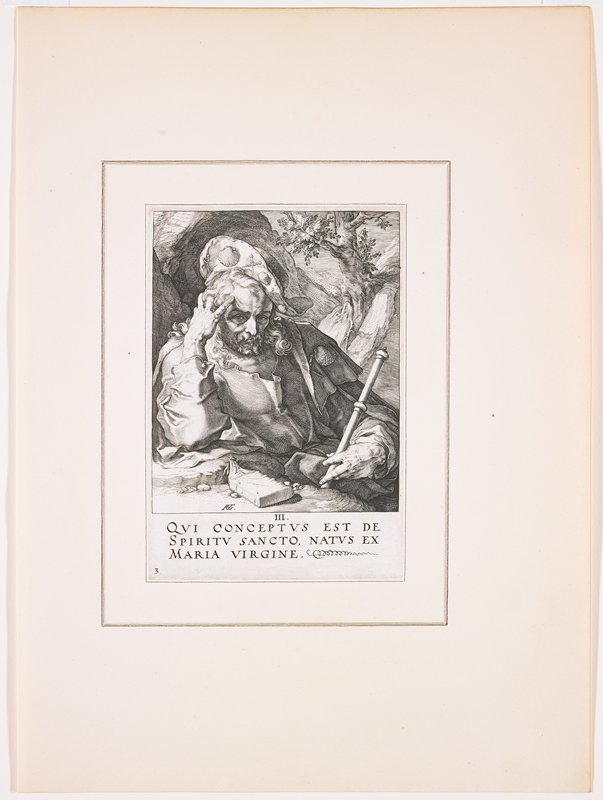 """man with long hair and curly beard, wearing a hat and cloak decorated with pairs of staffs and shells; man holds a staff in his PL hand; small book in a bag in front of man; landscape in background with tree over man's PL shoulder; text at bottom: """"III. / QUI CONCEPTUS EST DE / SPIRITU SANCTO, NATUS EX / MARIA VIRGINE."""""""
