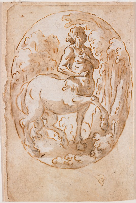 centaur with PR front leg raised; thick midsection at human waist; centaur looks backward toward PL; trees in background