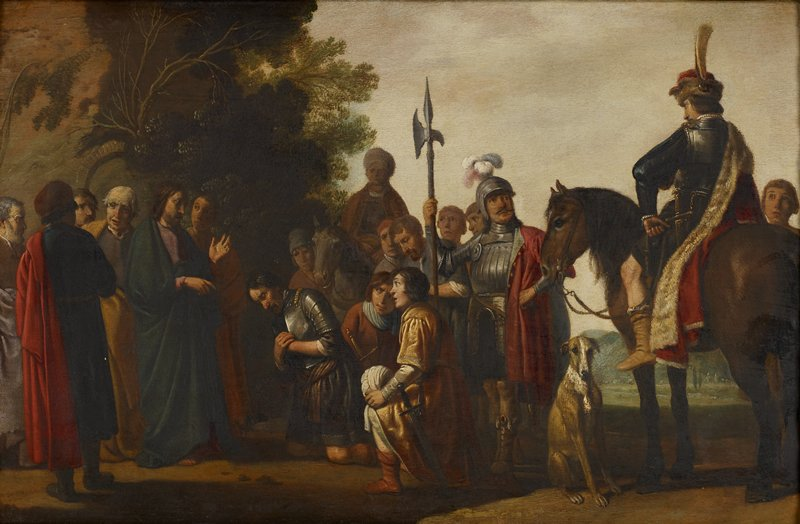 figures in a landscape; Christ at left wearing blue garment, accompanied by five figures in various colored robes; three men, including one man wearing vest of armor, kneeling at center before Christ; man in vest of armor with sword, wearing red cape with white fur lining at right, seated on horseback, accompanied by seated dog; standing armored soldier behind kneeling figures; other standing figures and horse; foliage at left