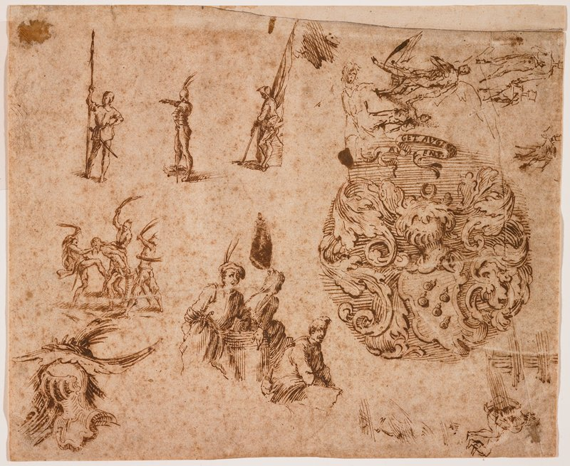 various small sketches on sheet; round coat of arms medallion with acanthus leaves surrounding small irregularly-shaped shield mounted with a helmet of armor and a small scroll with text at top, at right center of sheet; sketch of helmet of armor in LLC; small sketches of figures in various poses overall, including scene of flogging at left center and soldiers with flags and spears