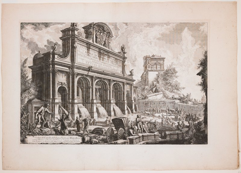 view of a large, elaborate architectural fountain with five torrents of water in archways surmounted with a large architectural structure with sculptures and inscriptions; many figures around sculpture and horse-drawn carriages; another building in background on a hill in LRQ; long inscription in the plate, LLC